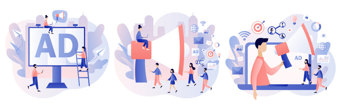 Advertising agency concept. Service advertisement, Outdoor advertising, Digital marketing, SMM. Tiny people and big megaphone. Modern flat cartoon style. Vector illustration on white background