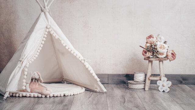 Digitaler Hintergrund beige vintage mit Tipi, Stofftier und Blumen für cake smash Hochzeit