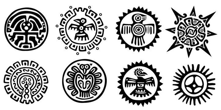 Design und Motive von Inka, Maya, Azteken aus Südamerika