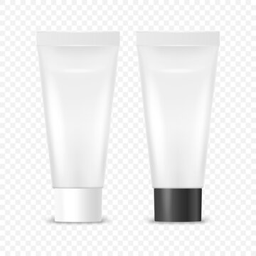 Vector 3d Realistic Plastic, Metal White Tooth Paste, Cream Tube, Packing with White and Black Cap Set Isolated. Design Template of Toothpaste, Cosmetics, Cream, Tooth Paste for Mockup. Front View