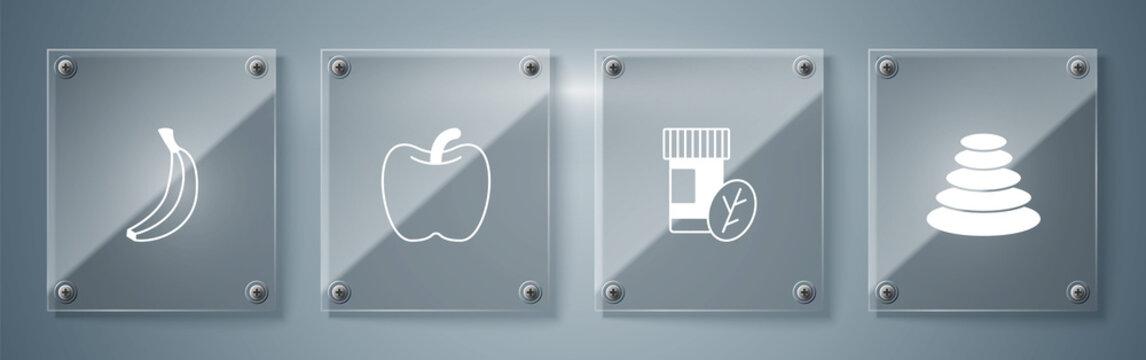 Set Stack hot stones, Vitamin pill, Apple and Banana. Square glass panels. Vector