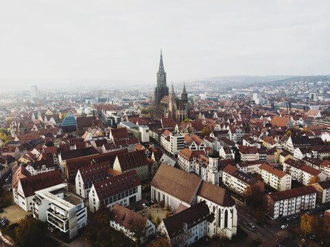 Aerial cityscape panorama view of Ulm city at Danube river with Ulmer Munster Cathedral in Baden-Wurttemberg Germany