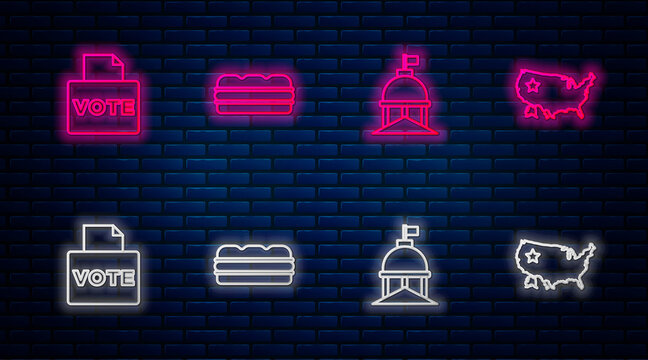 Set line Sandwich, White House, Vote box and USA map. Glowing neon icon on brick wall. Vector