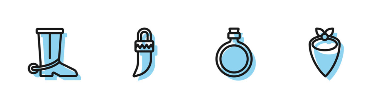 Set line Canteen water bottle, Cowboy boot, Tooth and bandana icon. Vector