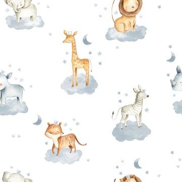 Safari Animals watercolor illustrations for baby in the sky with clouds and stars seamless  pattern