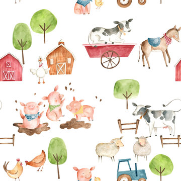 Watercolor baby  farm animals illustration seamless pattern  tile with cow, horse, pig, chicken, hen