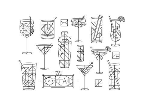 Art deco cocktails set