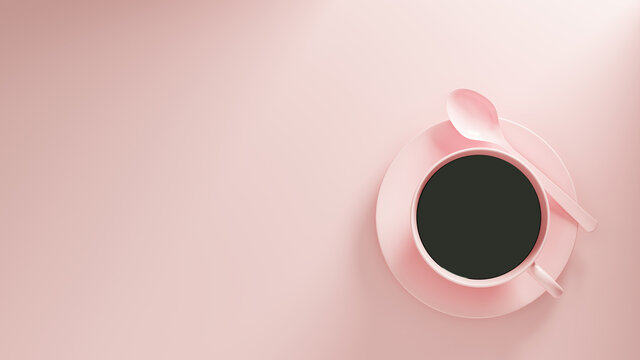 3D rendering of a pink coffee cup on a pink background