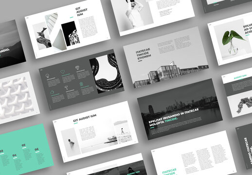 Minimal Presentation Layout with Green Accents