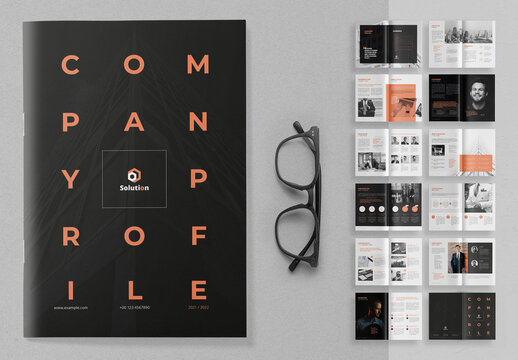 Company Profile Layout with Peach Accents