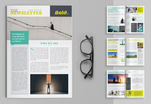 Newsletter Layout with Chartreuse Yellow Green Accents