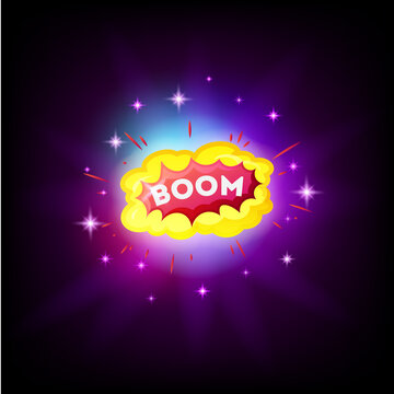 Boom white comic text speech bubble explosion in space. Colored pop art style sound effect. Halftone vector illustration banner. Vintage comics book poster.