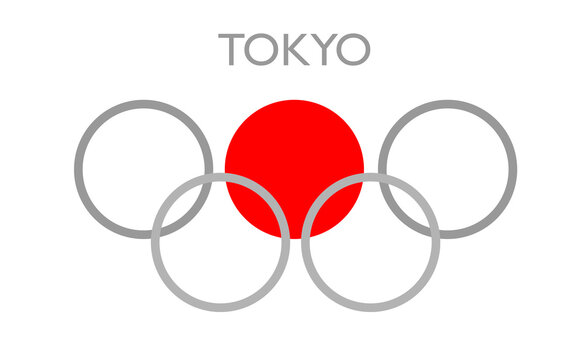 Tokyo 2021 sport games. welcome to Japan. Colorful rings. Games of the XXXII Olympiad or 2020 Summer Olympics