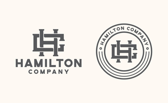hc monogram logo template vector