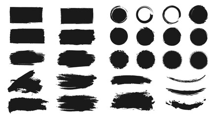 Obraz Abstract grunge paint brush stroke set. Graphic element design with ink splatter or splash, circle, line and frame. Creative vector shape or background art illustration template.      - fototapety do salonu