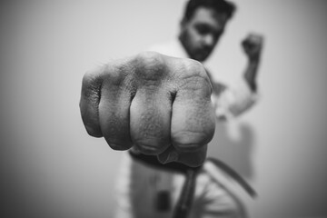 Fototapeta soco de karaté taekwondo faixa preta artes marciais