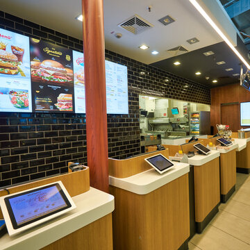 FRANKFURT AM MAIN, GERMANY - CIRCA JANUARY, 2020: McDonald's at Frankfurt am Main Airport.