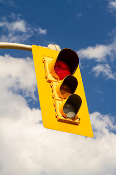 Red Streetlight Stop Traffic Cloudy Blue Sky