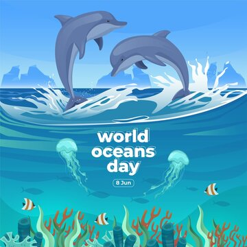 World oceans day 8 June. Save our ocean. Dolphin and fish were swimming underwater with beautiful coral and seaweed background vector illustration.