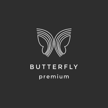Butterfly conceptual simple icon. Logo. Vector illustration on black background