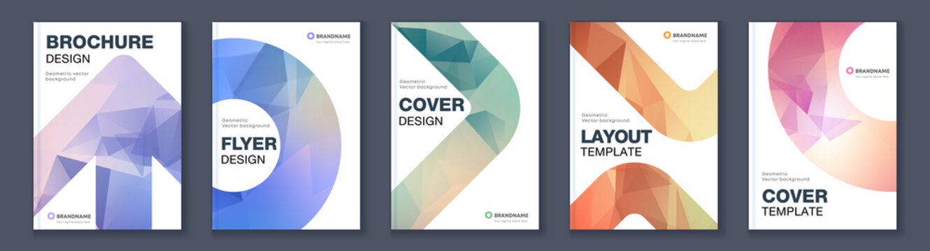 Modern triangle abstract A4 brochure colour cover template bundle set