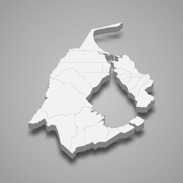 3d isometric map of Zulia is a state of Venezuela,