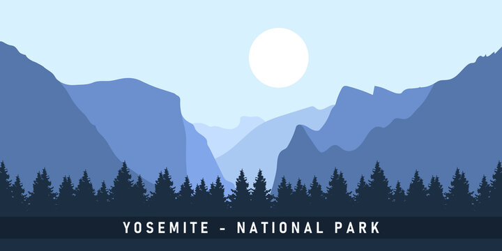 Yosemite National Park Central California United State of America. Vector Illustration Background.
