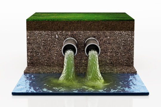 Dirty water pouring into the water from sewer pipes. 3D illustration