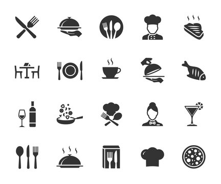 Vector set of restaurant flat icons. Contains icons menu, serving food, chef, wine list, cutlery, steak, tray and more. Pixel perfect.