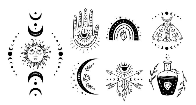 Mystical witchcraft symbol set. Vector boho silhouette design. Magic monochrome illustration. Esoteric and occult signs. Alchemy prints.
