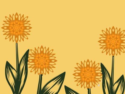 Sunflowers yellow illustration