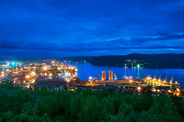 View of the Kola Bay (Barents Sea), the Commercial Sea Port and the city of Murmansk. Murmansk is located in the North of the European part of Russia, and is located above the Arctic Circle.