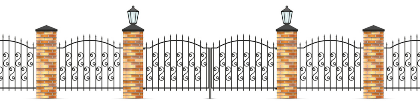 Wrought iron fence panels and gates. 3D realistic vector illustration isolated on white