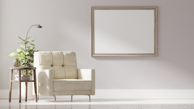 Modern vintage interior of living room, A blank frame on a white wall, 3D Rendering