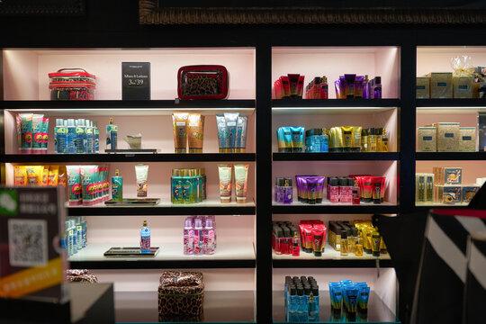 MUNICH, GERMANY - CIRCA JANUARY, 2020: interior shot of Victoria's Secret store in Munich Airport.