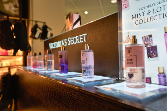 MUNICH, GERMANY - CIRCA JANUARY, 2020: perfumes on display at Victoria's Secret store in Munich Airport.