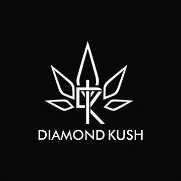 Vector minimalist logo kush marijuana diamond isolated on white background