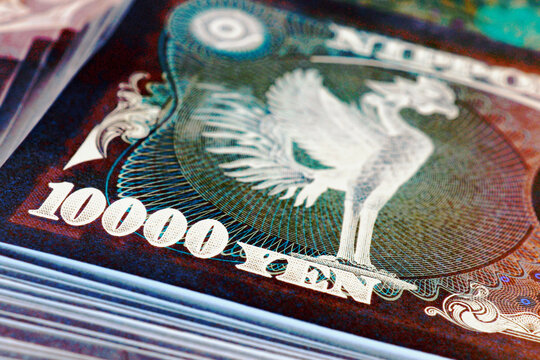 A bundle of 10,000 yen Japanese bills. The reverse of the banknote with the Phoenix bird close-up. Inverted expressive ominous illustration about money, banking and the economy of Japan. Macro