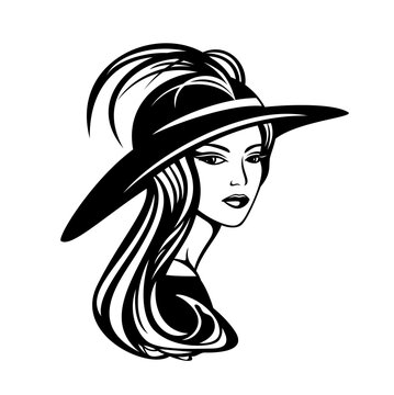 elegant woman with long gorgeous hair wearing wide brimmed hat with feather decor - glamour and beauty concept vector portrait