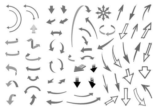 Set di frecce vettoriali di tipo tecnico e a mano libera