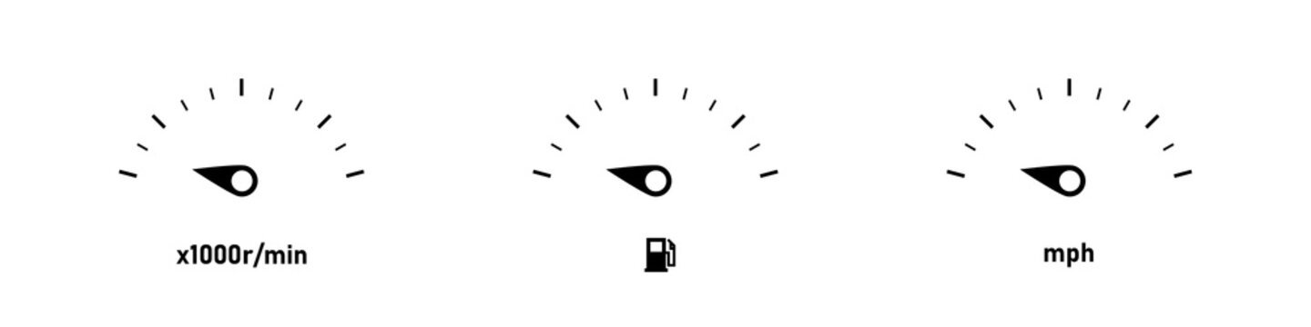 Car dashboard vector illustration. Car speedometer icon set. RPM KMPH fuel icons. RPM KMPH fuel indicator arrows. Vector graphic.