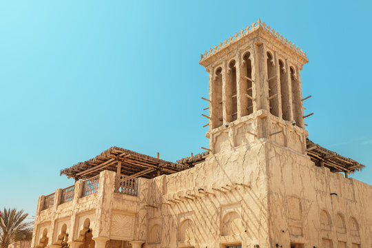 Traditional architecture of wind towers in Dubai and the UAE, used as ancient air conditioners