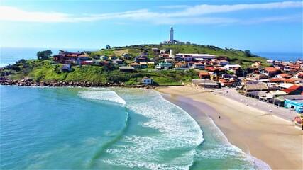 Fototapeta farol de santa marta, estado catarinense, santa Catarina, pedras em beira mar
