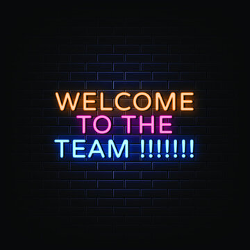 Welcome to the team neon sign vector.