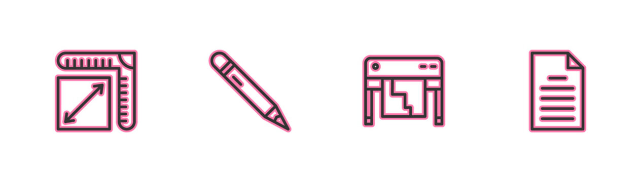 Set line Paper size, Plotter, Pencil with eraser and File document icon. Vector
