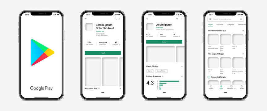 Google Play Store app template on smartphone device. Isolated Google Play Store mobile interface on white background. Realistic apps presentation on phone mockup. Editable text, vector illustration.