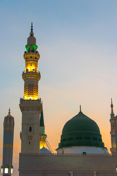 An evening view from the Masjid Nabawi in Medina. Dome of Prophet Muhammad's Mosque