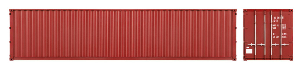 Obraz red large shipping cargo container with copy space in frontal and side view isolated  white background. transportation ship delivery logistics and freight concept. - fototapety do salonu