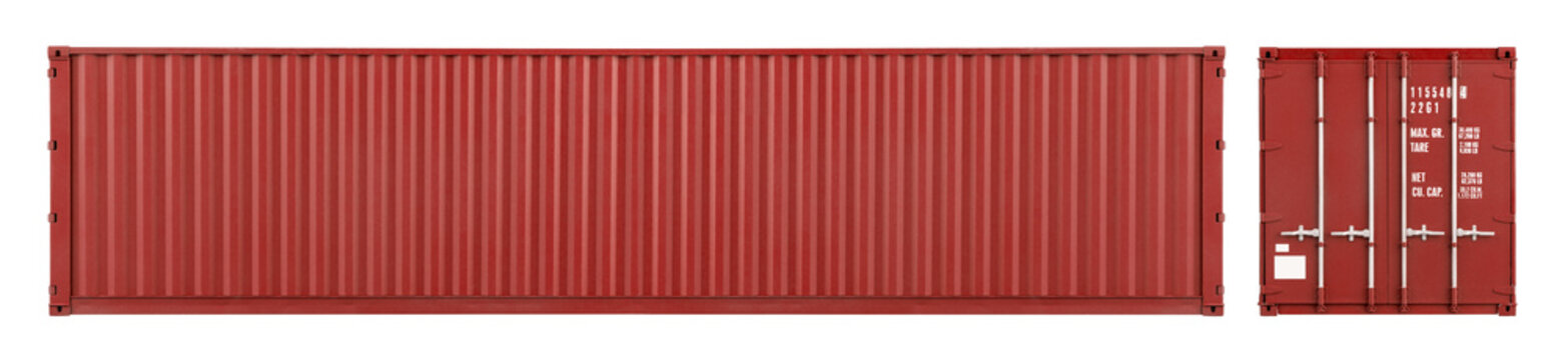 red large shipping cargo container with copy space in frontal and side view isolated  white background. transportation ship delivery logistics and freight concept.
