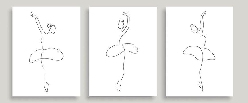 Ballerina Pose One Line Drawing Prints Set. Woman Dance Pose Minimalist Style. Ballet Line Art Modern Minimal Prints. Trendy Illustration Continuous Line Art. Fashion Minimal Logo. Vector EPS 10